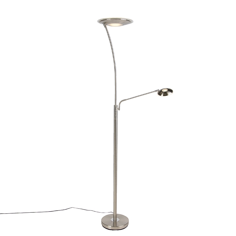 Moderne vloerlamp staal met leesarm incl. LED - Monte Carlo