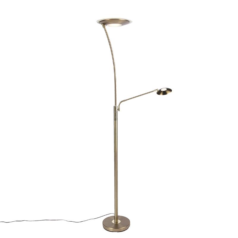 Moderne vloerlamp brons met leesarm incl. LED - Monte Carlo
