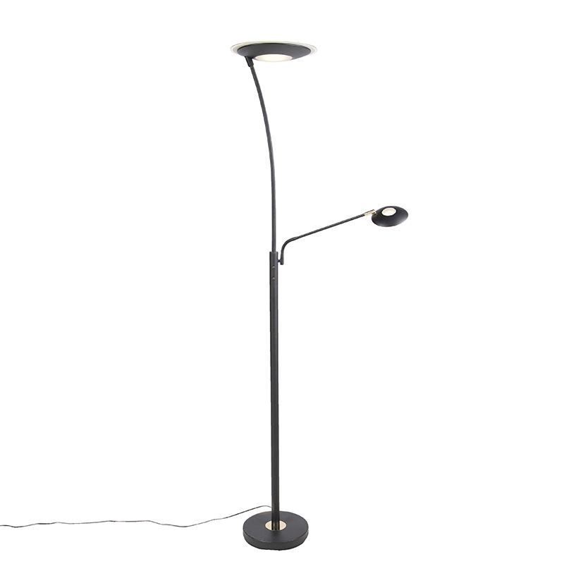 Moderne vloerlamp zwart met leesarm incl. LED - Monte Carlo