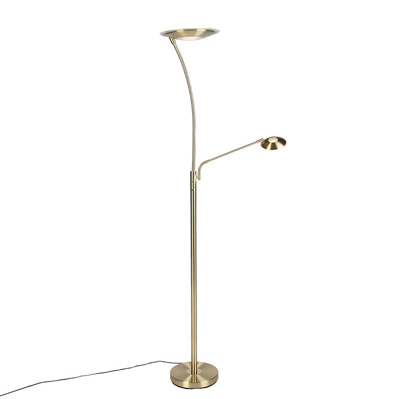 Moderne vloerlamp messing met leeslamp incl. LED - Monte Carlo