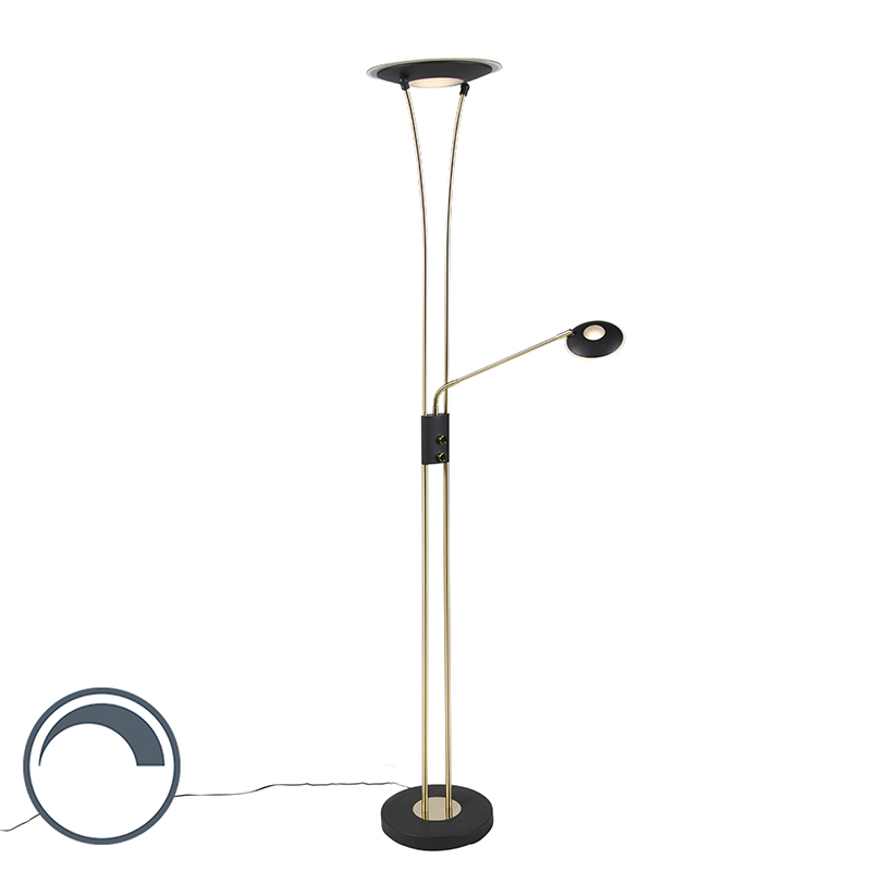 Moderne vloerlamp messing en zwart met leesarm incl. LED - Ibiza