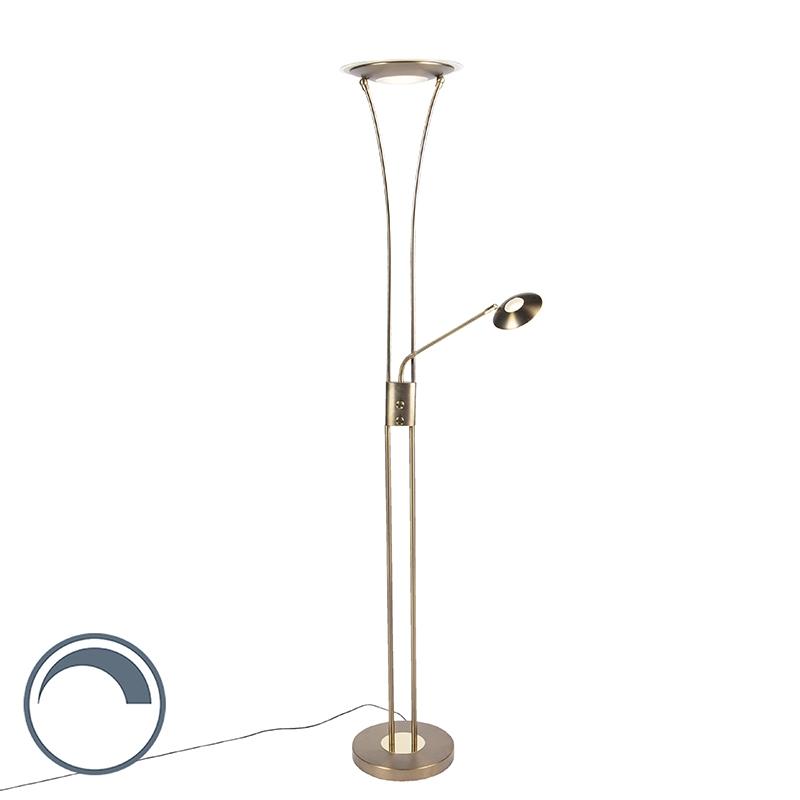 Moderne vloerlamp brons met leesarm incl. LED - Ibiza