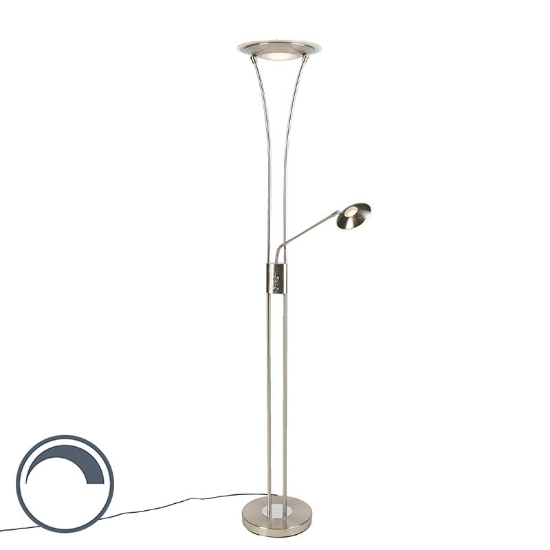 Moderne vloerlamp staal met leesarm incl. LED - Ibiza