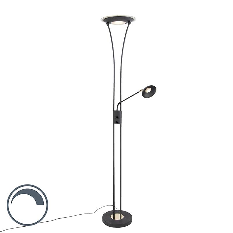 Moderne vloerlamp zwart met leesarm incl. LED - Ibiza