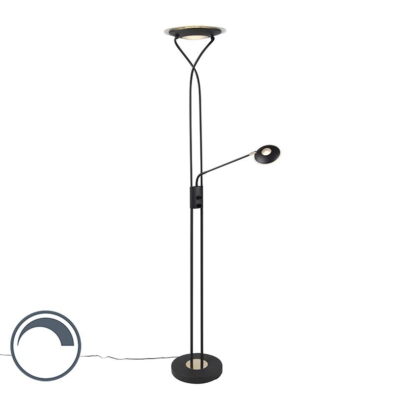 Moderne vloerlamp zwart met leesarm incl. LED - Mallorca