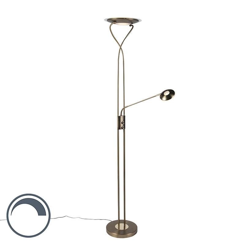Moderne vloerlamp brons met leesarm incl. LED - Mallorca