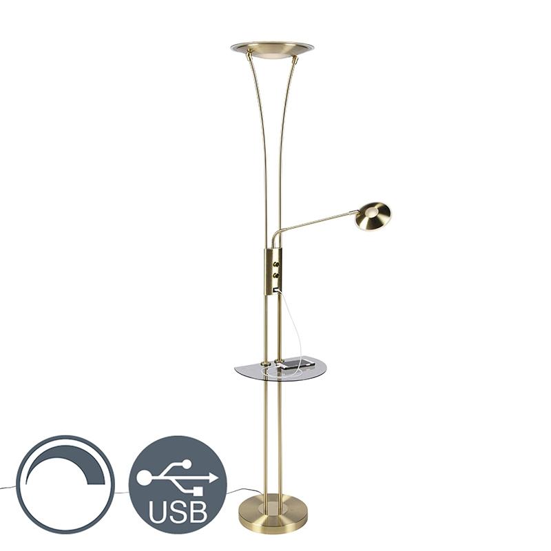 Moderne vloerlamp messing met smoke glas met leesarm incl. LED - Sevilla