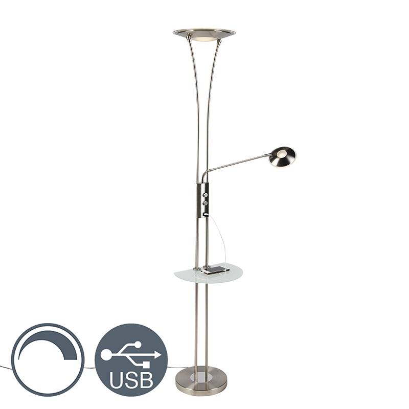 Moderne vloerlamp staal met melk glas met leesarm incl. LED - Sevilla