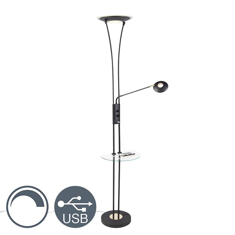 Moderne vloerlamp zwart met helder glas met leesarm incl. LED - Sevilla