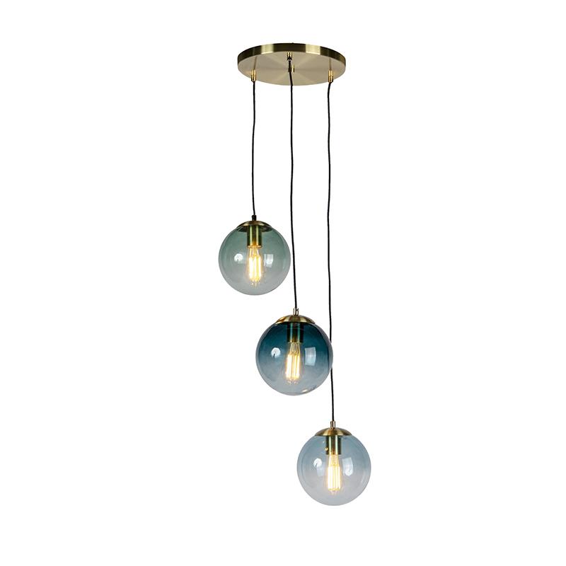 Lámpara colgante Art Dèco latón con cristal azul claro verde y azul oscuro 3 luces - PALLON