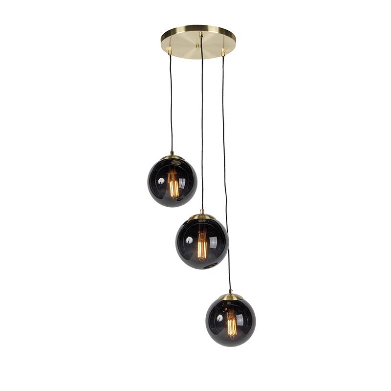 Art deco hanglamp messing met 3 zwarte glazen - Pallon