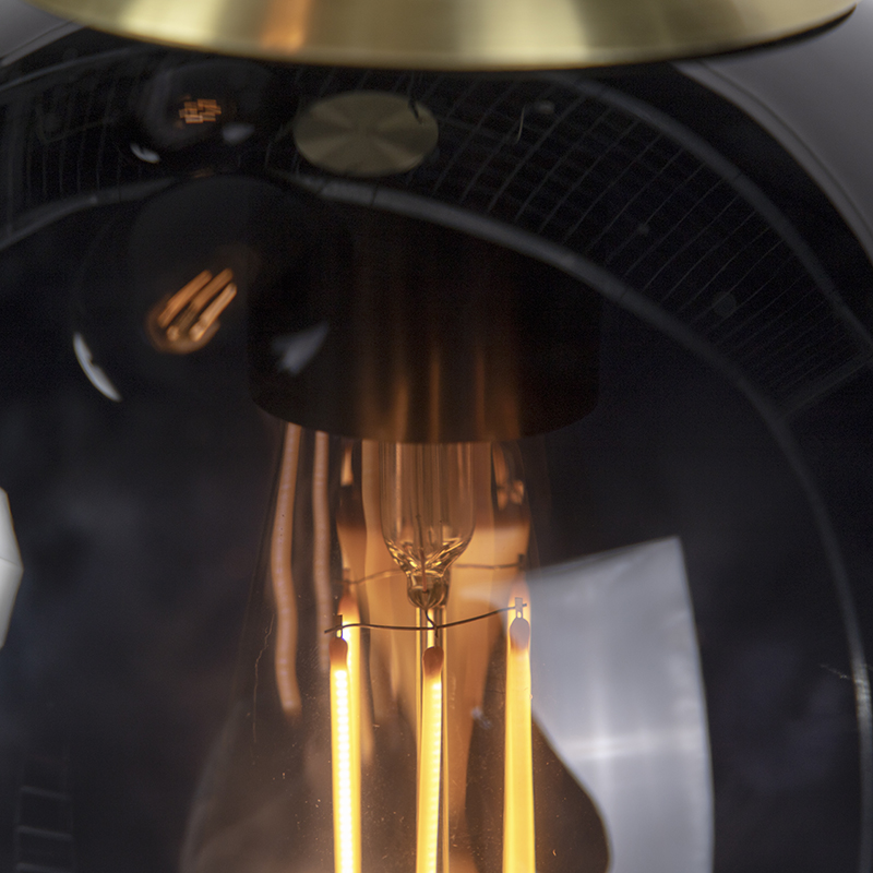 Art deco hanglamp messing met zwarte glas 3-lichts - Pallon
