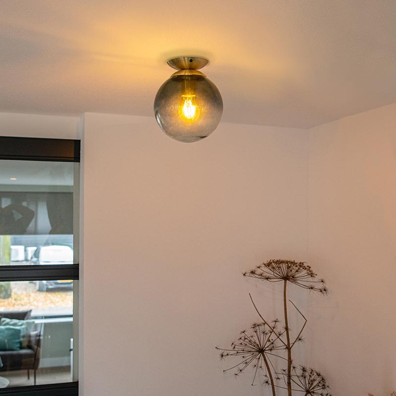 Art deco plafondlamp messing met oceaanblauw glas - Pallon