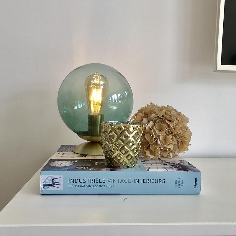 Art Deco tafellamp messing met groen glas - Pallon