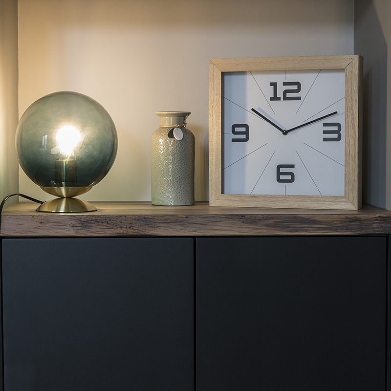 Obraz przedstawiający Art deco lampa stołowa mosiądz i morski niebieski szkło - Pallon ArtDeco Oswietlenie wewnetrzne
