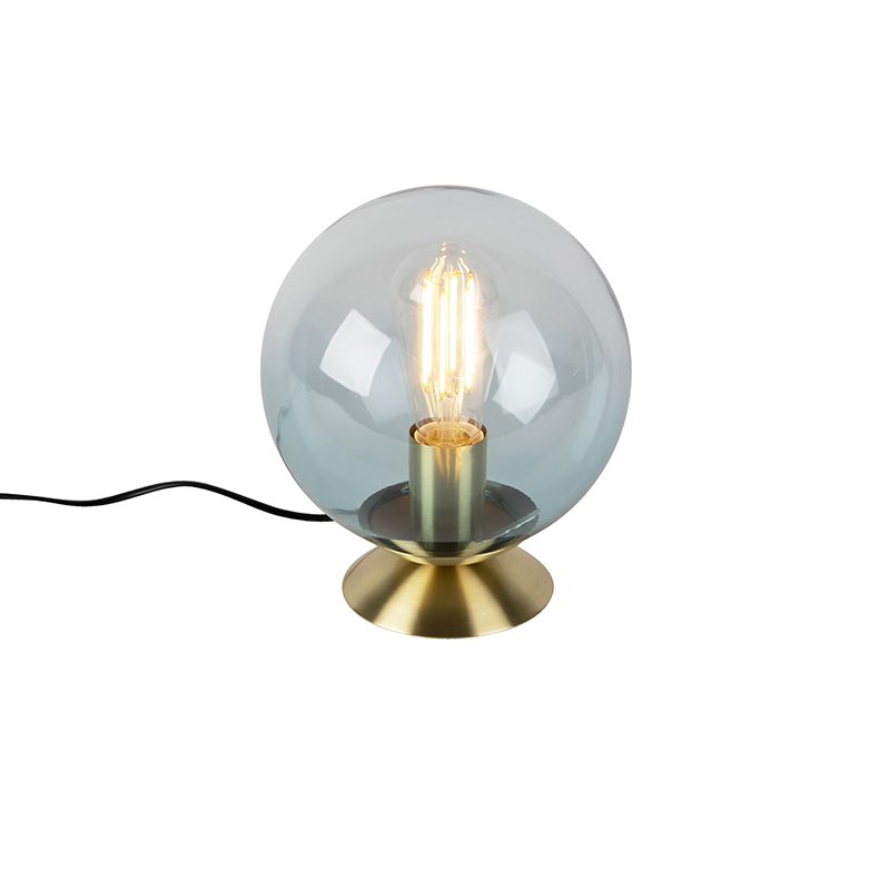 Art deco tafellamp messing met blauw glas - Pallon