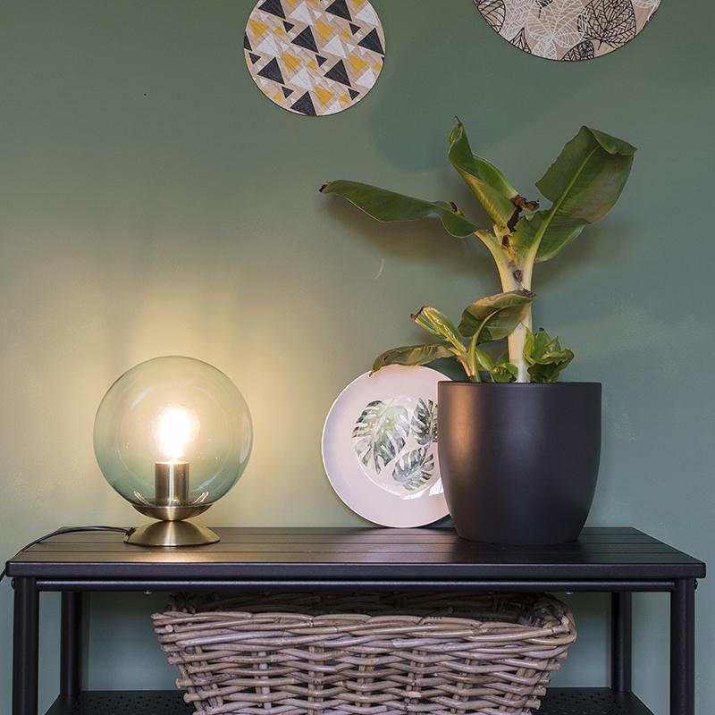 Obraz przedstawiający Art deco lampa stołowa mosiądz i lodowy niebieski szkło - Pallon ArtDeco Oswietlenie wewnetrzne