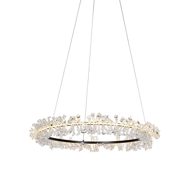 Art deco ronde hanglamp zwart met kristallen - Esme