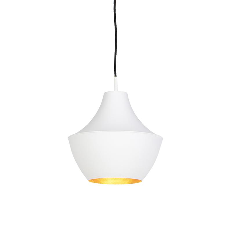 Skandynawska lampa wisząca biała ze złotym - Depeche-Jarred