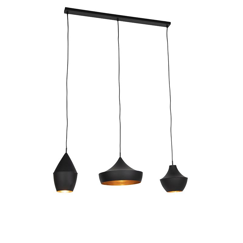 Scandinavische hanglamp zwart met goud 3-lichts - Depeche