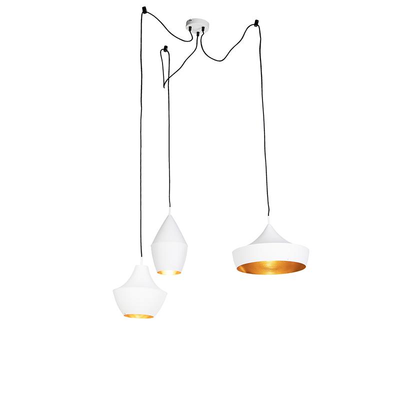 Set van 3 Scandinavische hanglampen wit met goud - Depeche