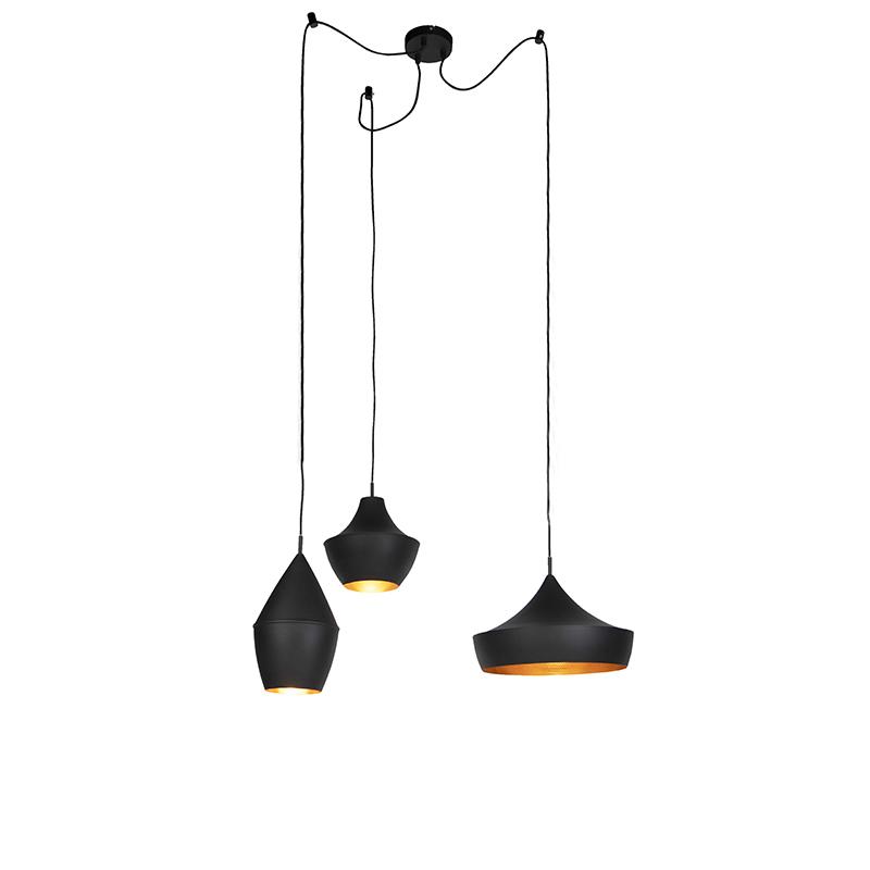 Set van 3 Scandinavische hanglampen zwart met goud - Depeche