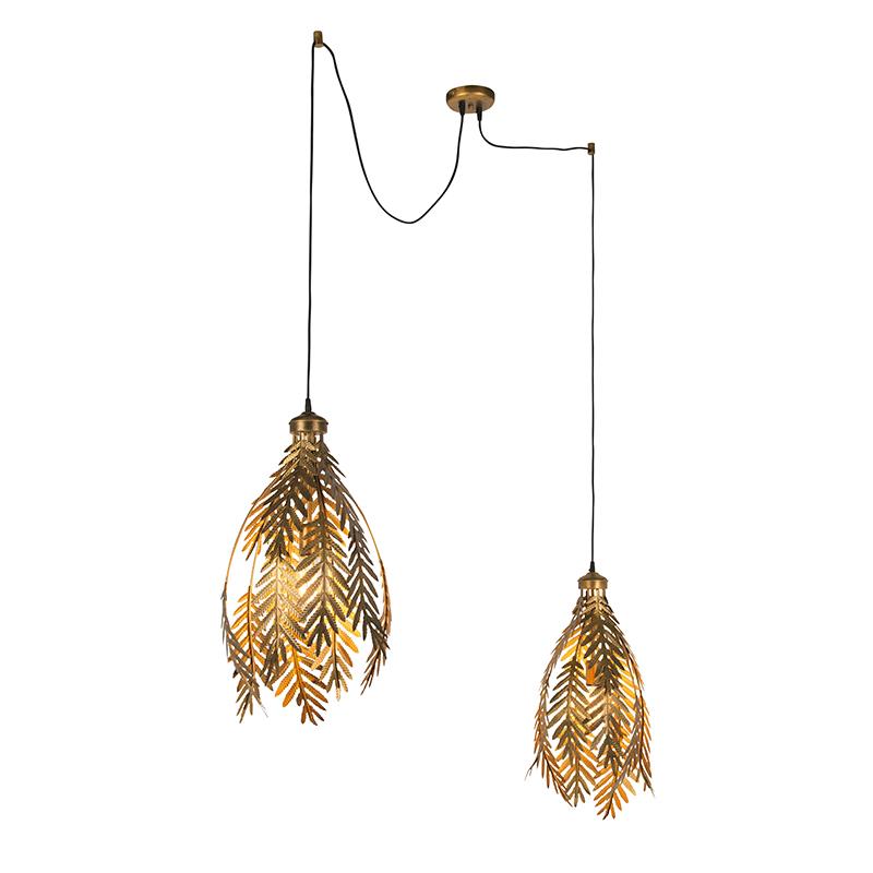 Lampa wisząca vintage złota 2-źródła światła - Botanica