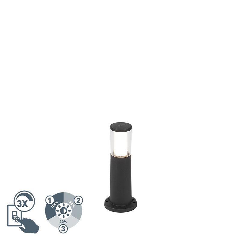 Moderne buitenpaal zwart 40 cm IP55 incl. GU10 3-staps dimbaar - Carlo