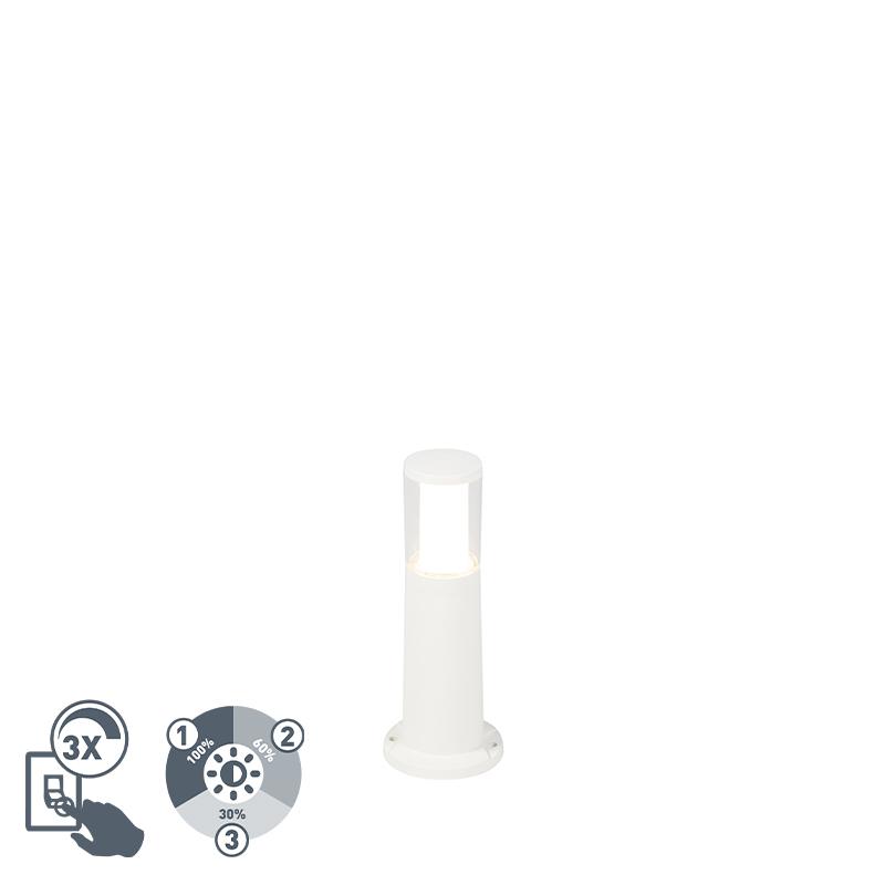 Moderne buitenpaal wit 40 cm IP55 incl. GU10 3-staps dimbaar - Carlo
