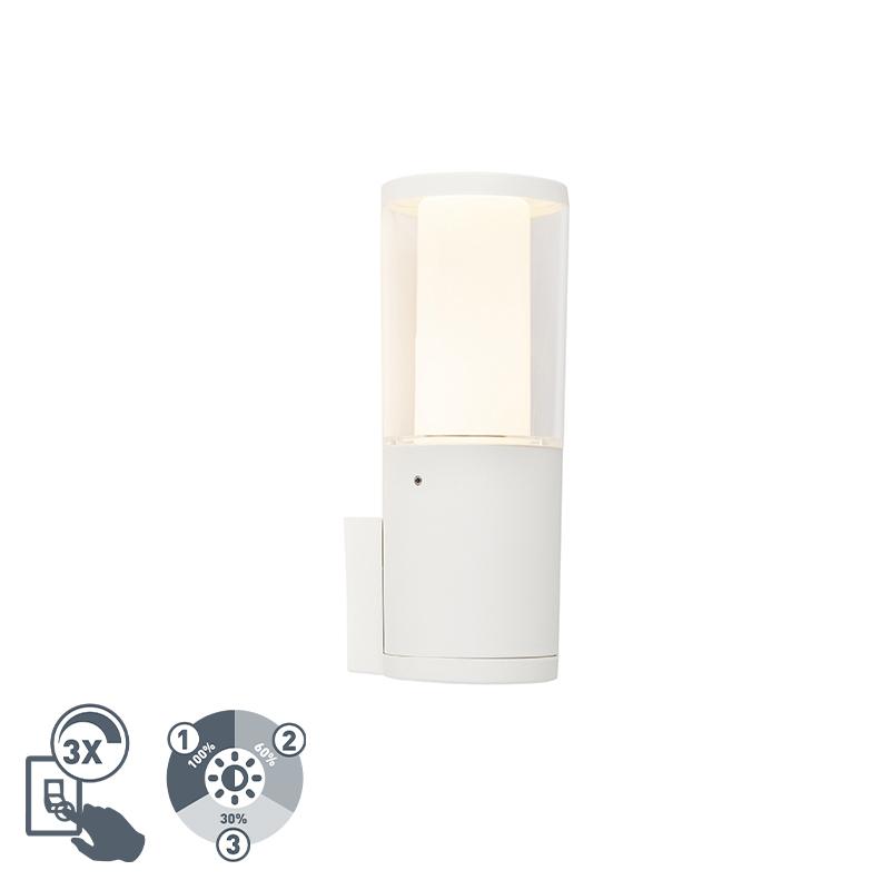 Moderne buitenwandlamp wit IP55 incl. GU10 3-staps dimbaar - Carlo