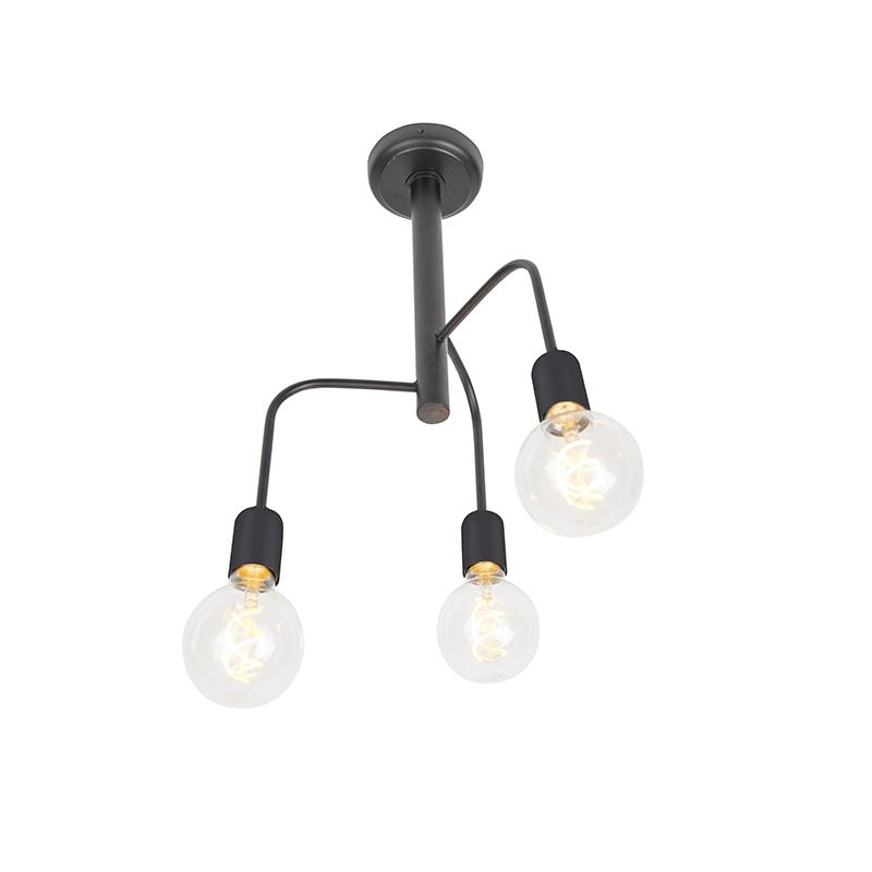 Moderne plafondlamp zwart 3-lichts - Facile