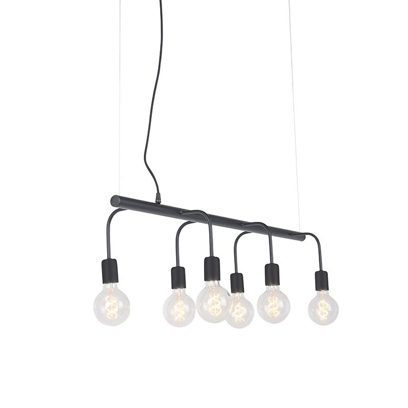 Nowoczesna lampa wisząca czarna 6-źródeł światła - Facile