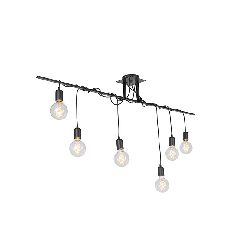 Moderne hanglamp zwart 6-lichts gedraaide kabels - Facile