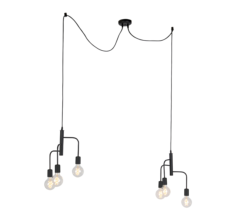 Moderne hanglamp zwart 2 x 3-lichts - Facile