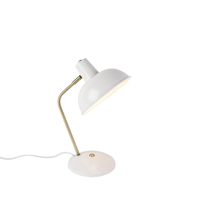 Lampa stołowa retro biała brąz - Milou