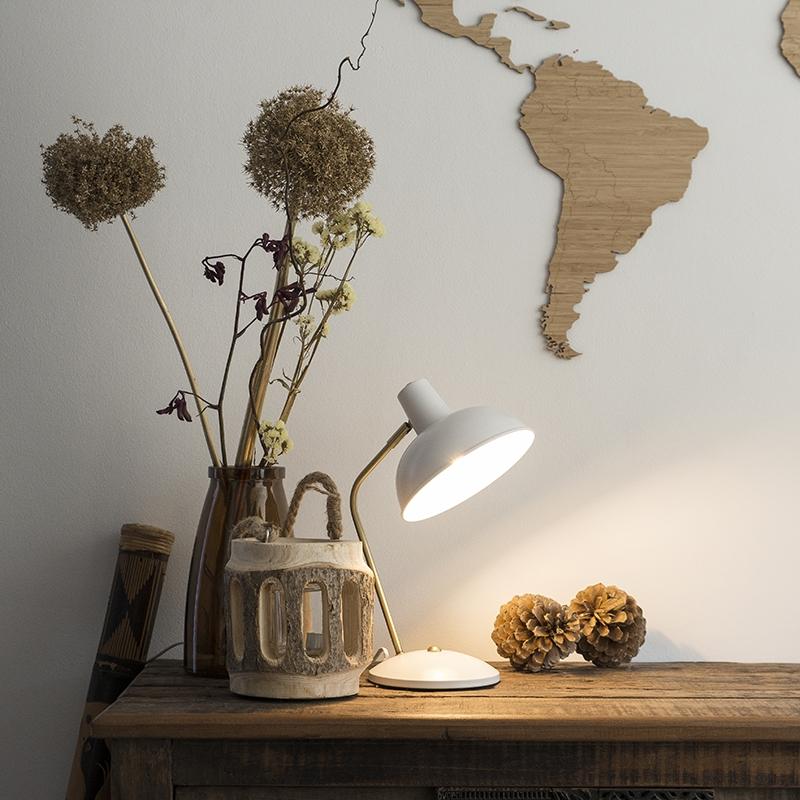 Retro tafellamp wit met brons - Milou