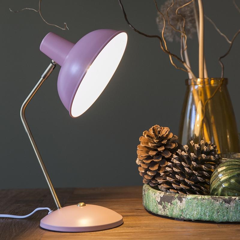 Retro tafellamp roze met brons - Milou