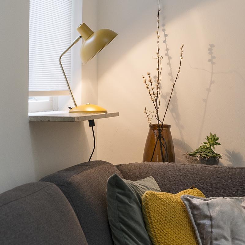 Moderne tafellamp geel met brons - Milou