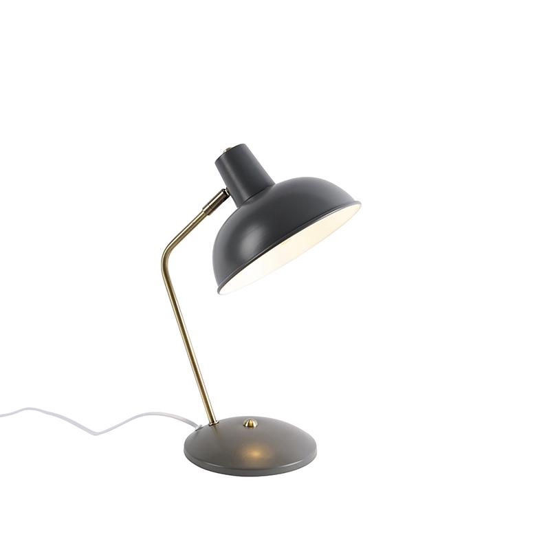 Retro tafellamp grijs met brons - Milou