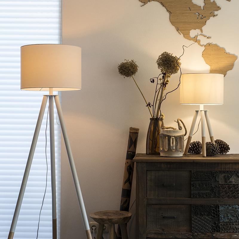 Set van tafel- en vloerlamp met kap wit - Pip