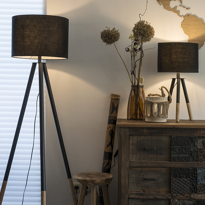 Set van tafel- en vloerlamp met kap zwart - Pip