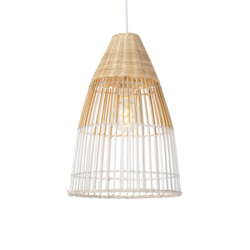 Obraz przedstawiający Art deco lampa wisząca bambus biała - Bamboo ArtDeco Oswietlenie wewnetrzne