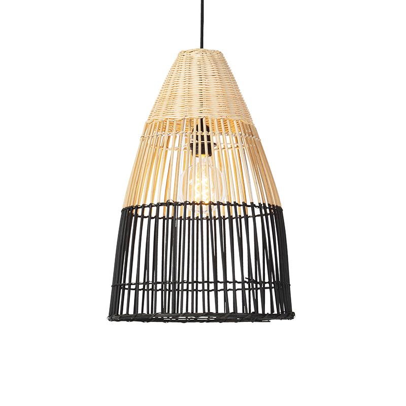 Afbeelding van Art Deco hanglamp bamboo met zwart - Bamboo Art Deco E27 rond Binnenverlichting