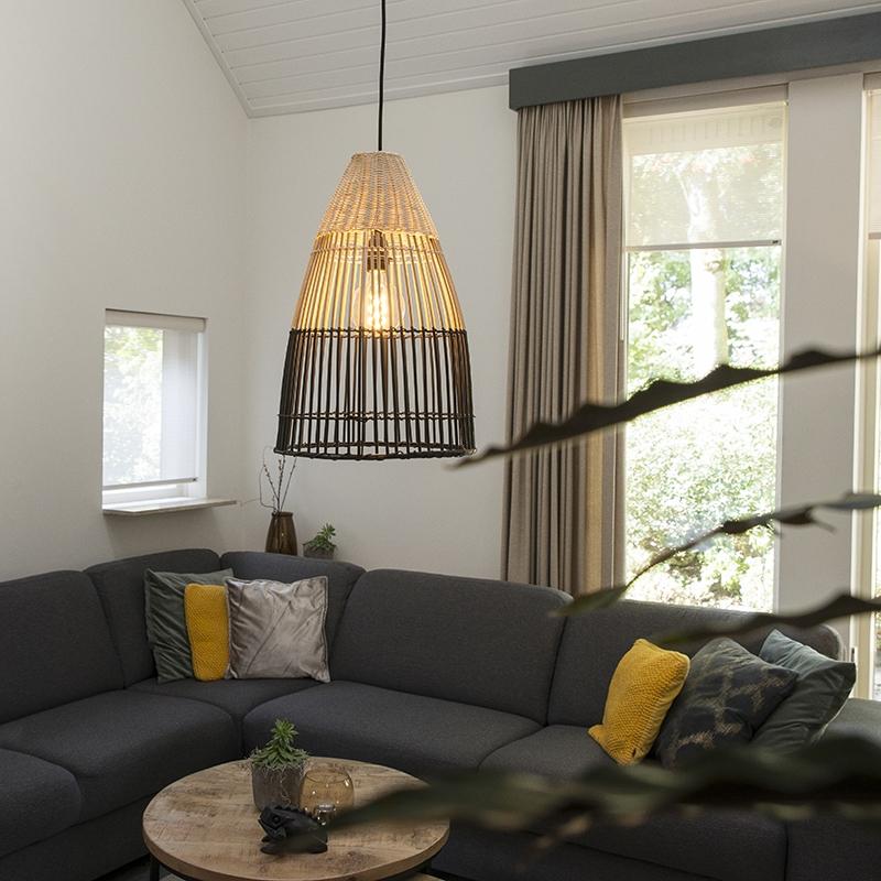 Obraz przedstawiający Art deco lampa wisząca bambus czarna - Bamboo ArtDeco Oswietlenie wewnetrzne