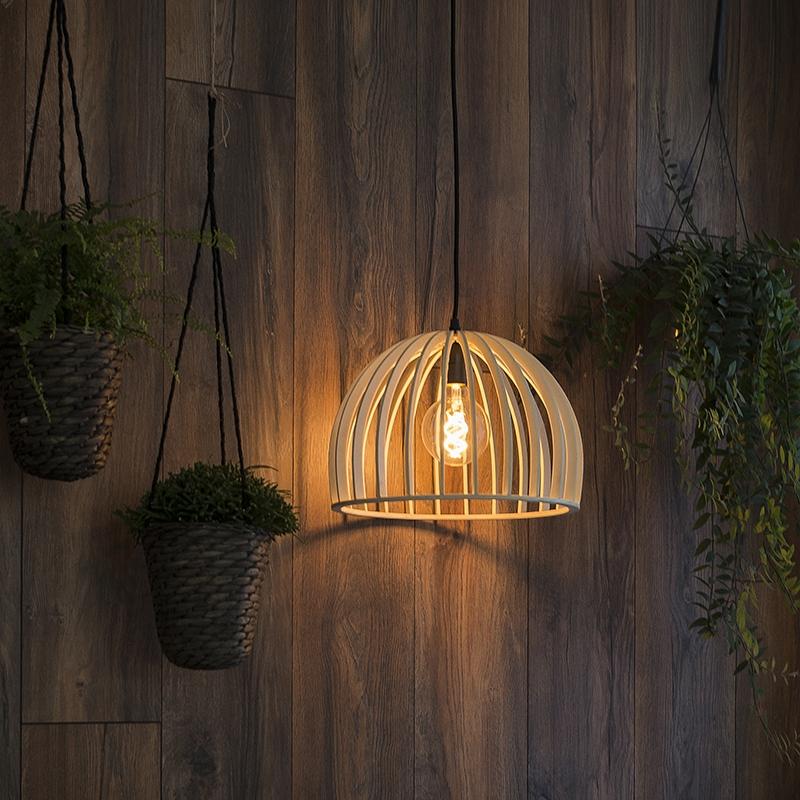 Landelijke ronde hanglamp hout 35 cm - Twain