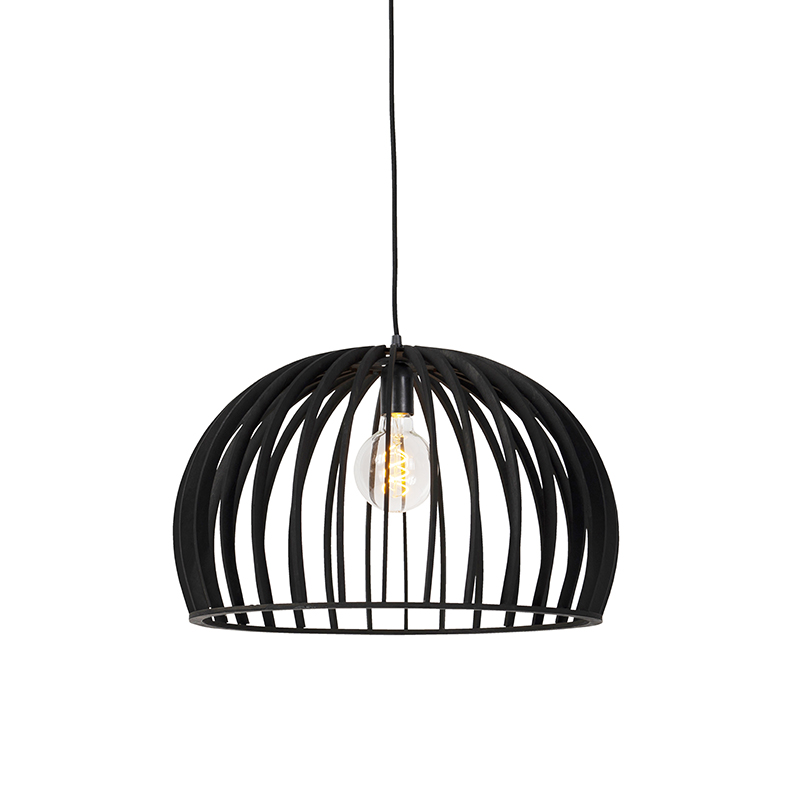 Art deco hanglamp zwart hout 50 cm - Twain
