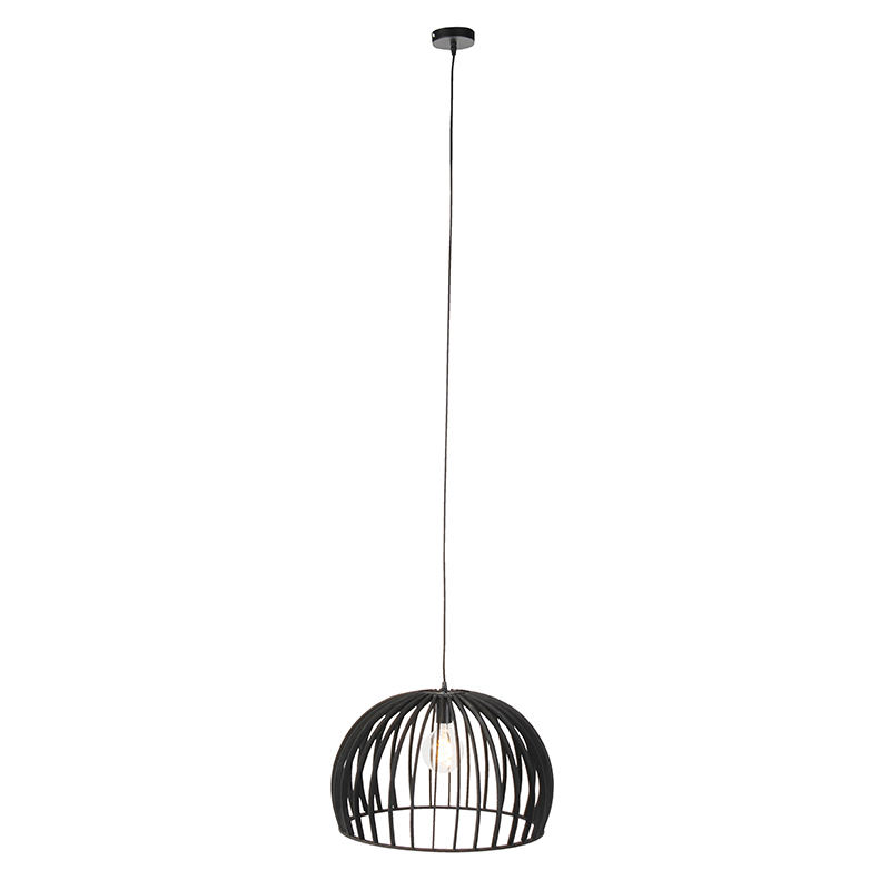 Art deco ronde hanglamp zwart hout 50cm – Twain