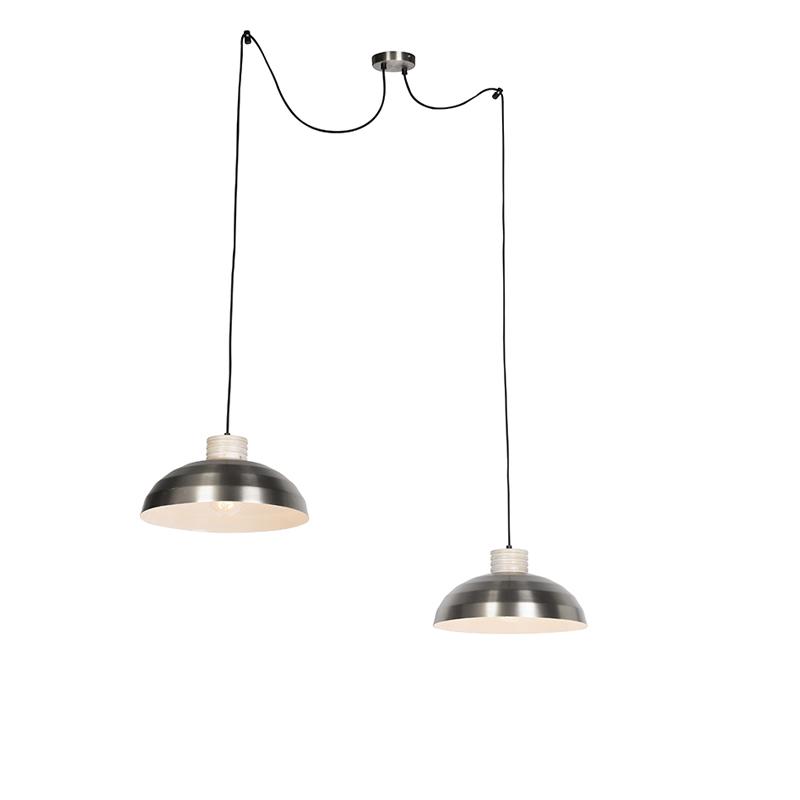 Landelijke Hanglamp Staal Met Hout 2-lichts Aan Touw - Albus