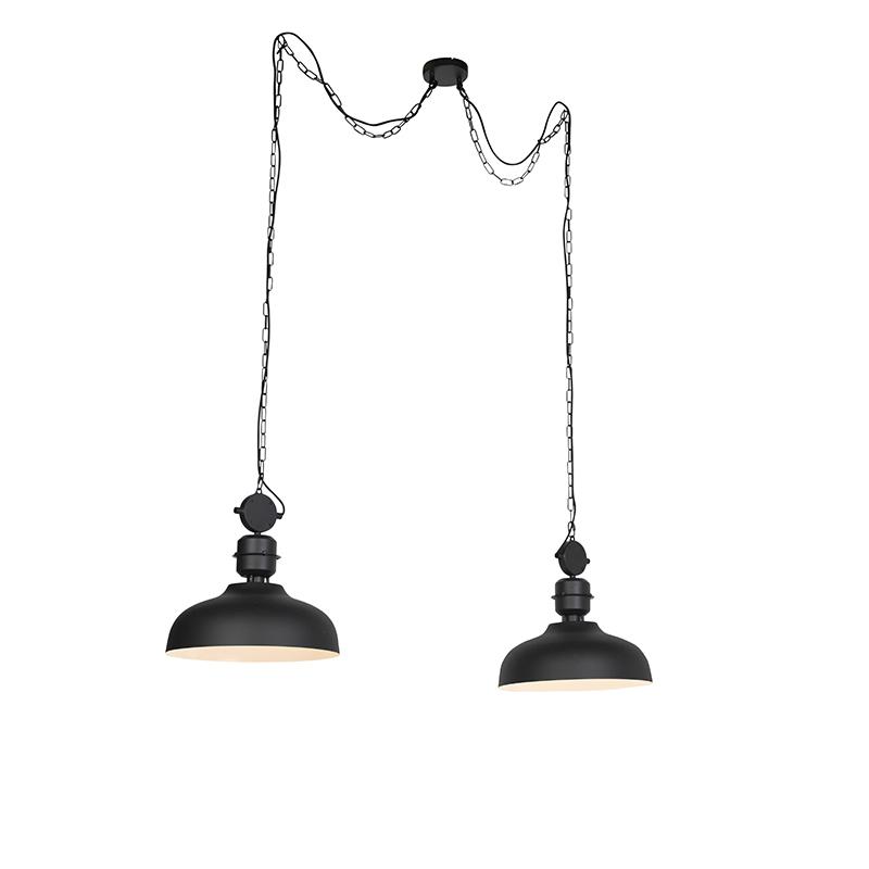 Industriele Hanglamp Aan Een Ketting Zwart - Sani