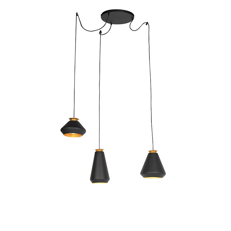 Hanglamp 3-lichts Zwart Met Gouden Binnenkant Rond - Mia